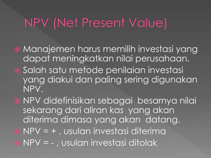 Npv net present value