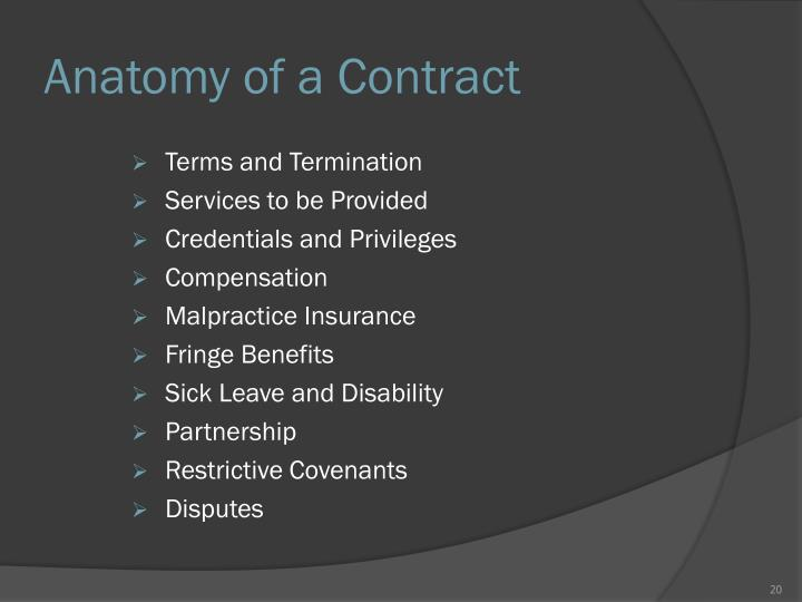 Anatomy of a Contract