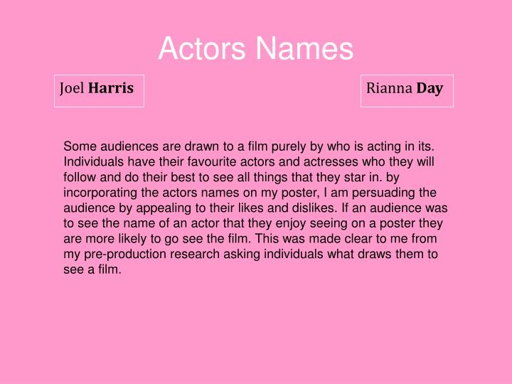 Actors Names