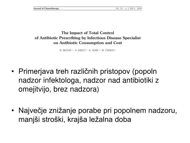 Primerjava treh različnih pristopov (popoln nadzor infektologa, nadzor nad antibiotiki z omejitvijo, brez nadzora)