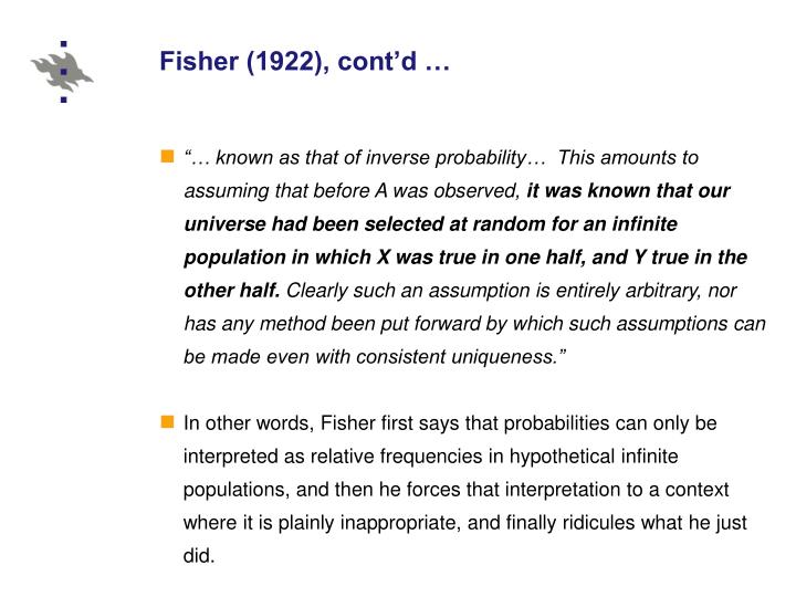 Fisher (1922), cont'd …