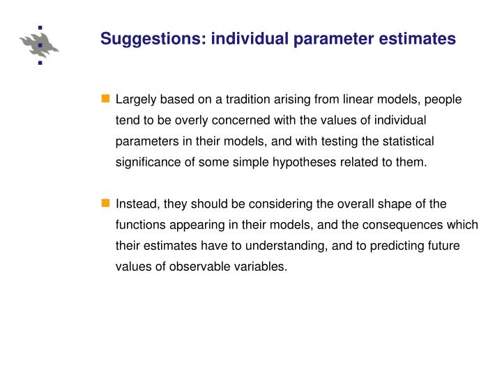 Suggestions: individual parameter estimates