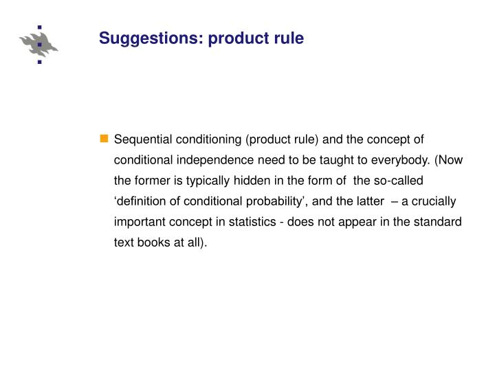 Suggestions: product rule