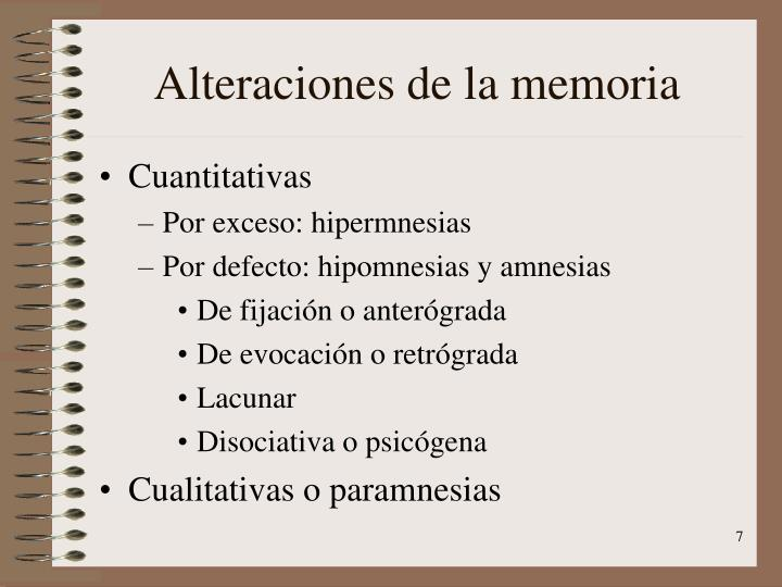 Alteraciones de la memoria