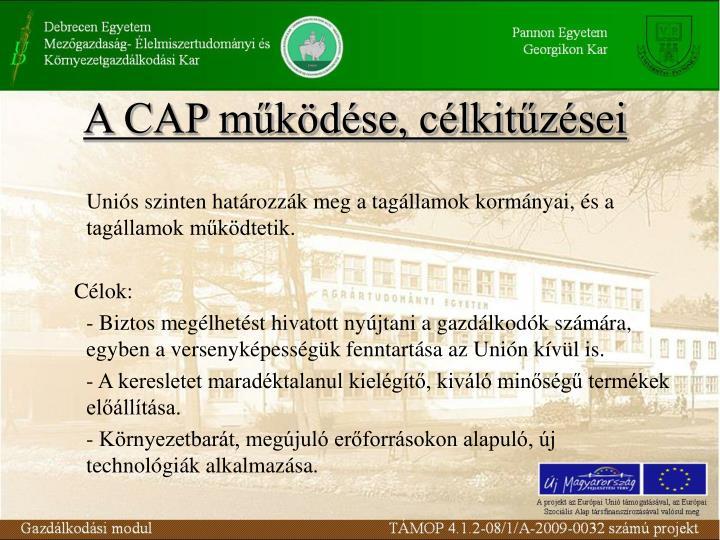 A CAP működése, célkitűzései