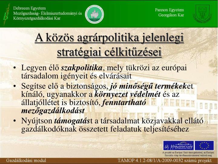 A közös agrárpolitika jelenlegi stratégiai célkitűzései