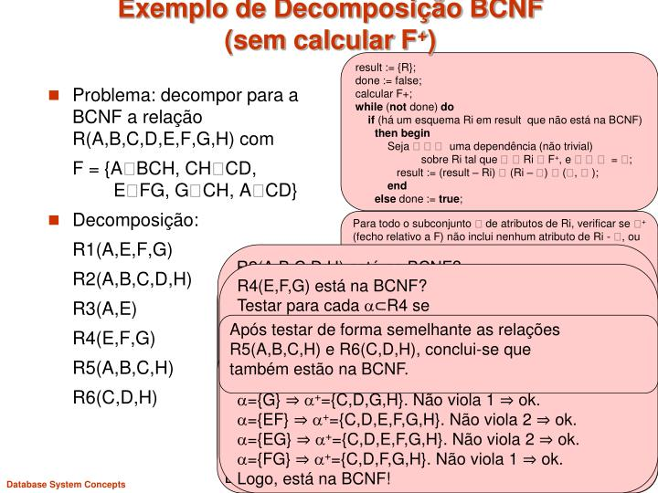 Exemplo de decomposi o bcnf sem calcular f