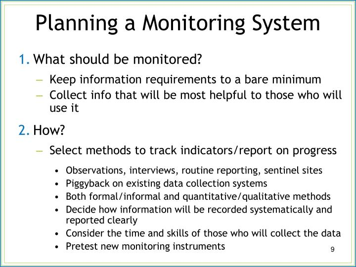 Planning a Monitoring System