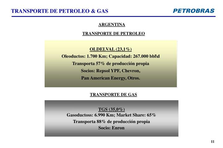 TRANSPORTE DE PETROLEO & GAS