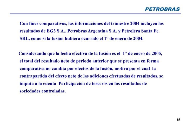 Con fines comparativos, las informaciones del trimestre 2004 incluyen los resultados de EG3 S.A., Petrobras Argentina S.A. y Petrolera Santa Fe SRL, como si la fusión hubiera ocurrido el 1° de enero de 2004.