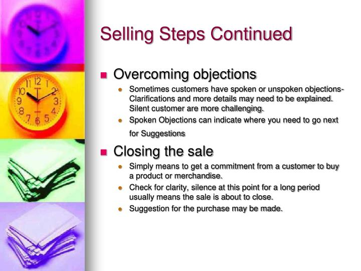 Selling Steps Continued
