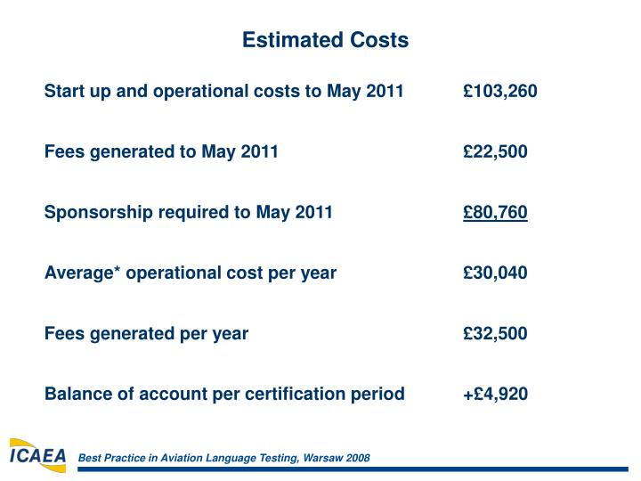 Start up and operational costs to May 2011