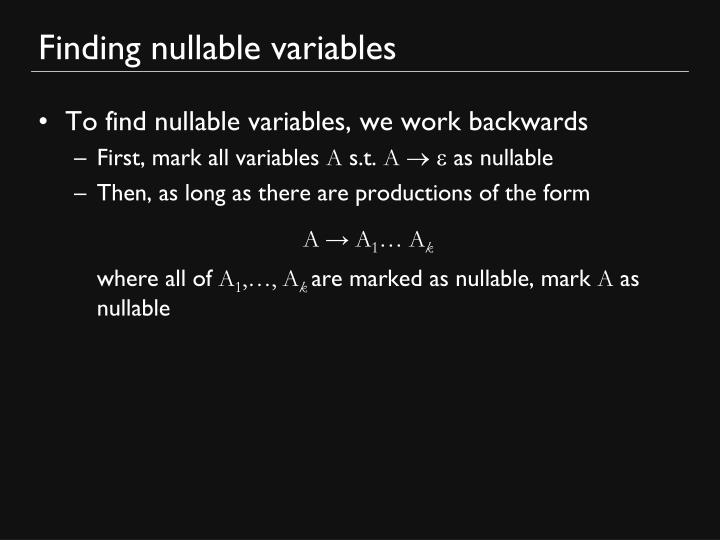 Finding nullable variables