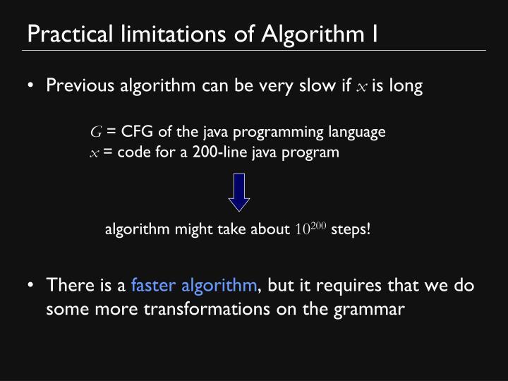 Practical limitations of Algorithm I