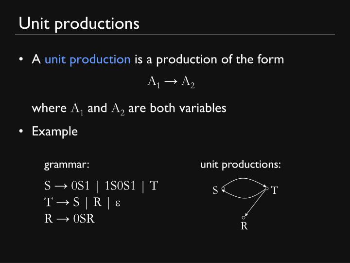 Unit productions