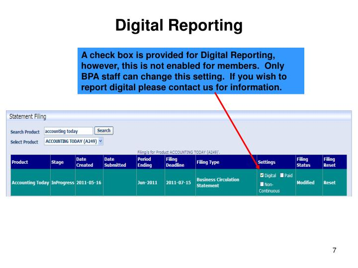 Digital Reporting