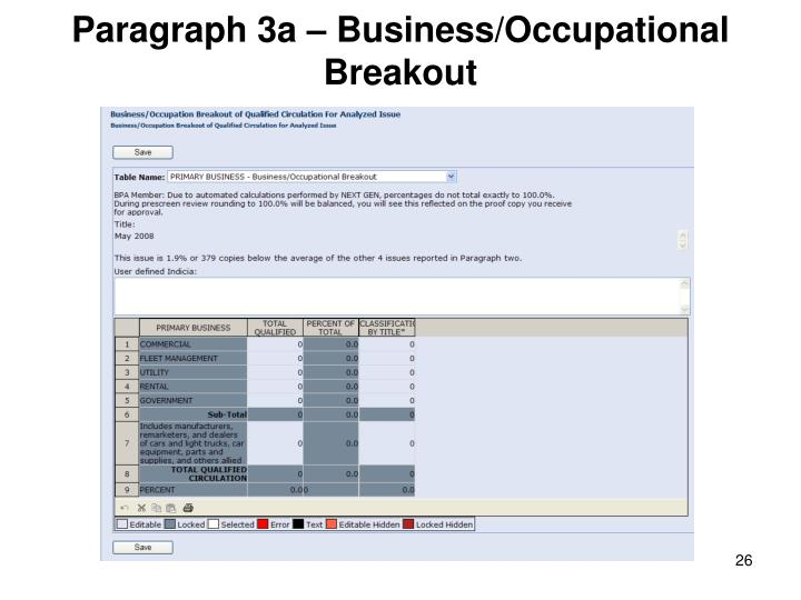 Paragraph 3a – Business/Occupational Breakout
