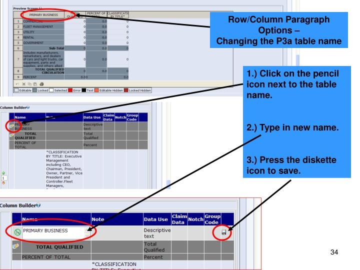 Row/Column Paragraph Options –