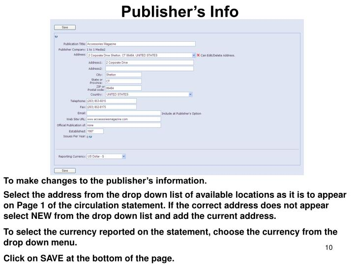Publisher's Info