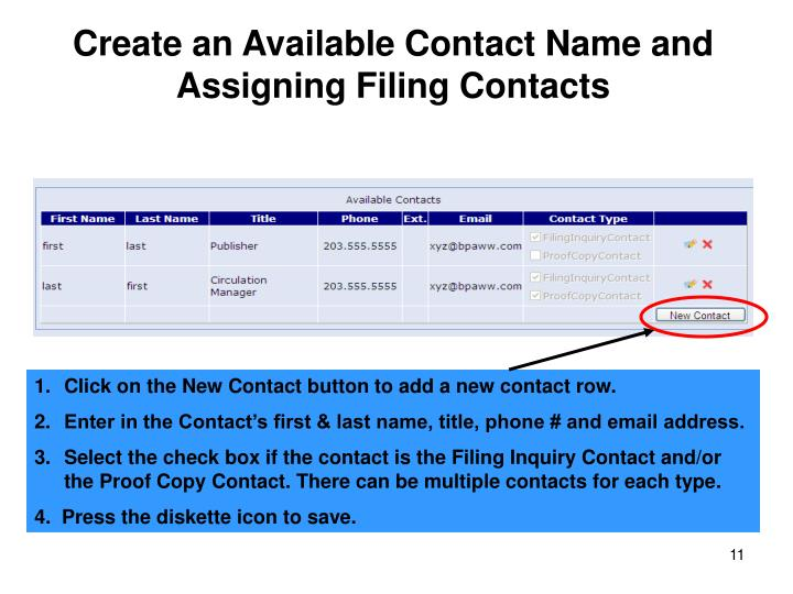 Create an Available Contact Name and Assigning Filing Contacts