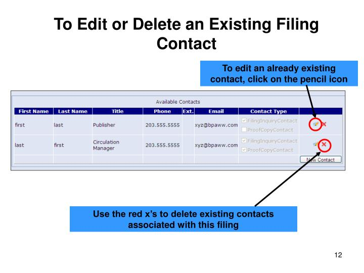 To Edit or Delete an Existing Filing Contact