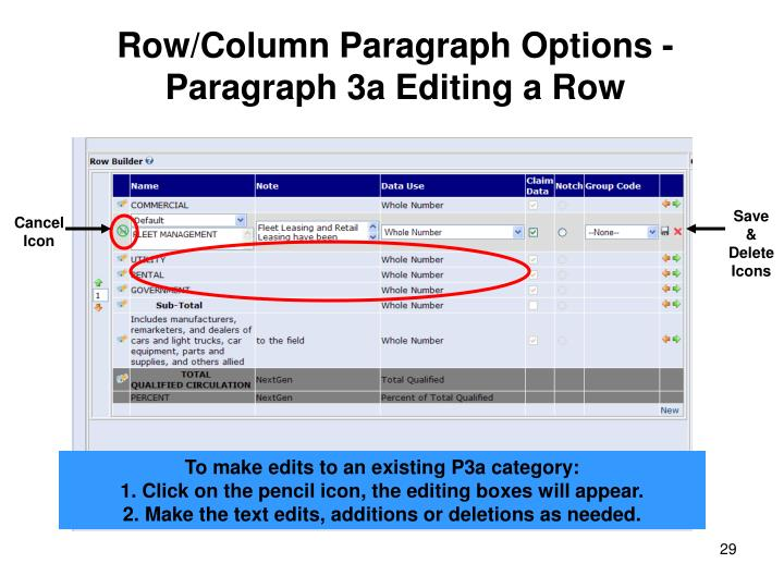 Row/Column Paragraph Options - Paragraph 3a Editing a Row