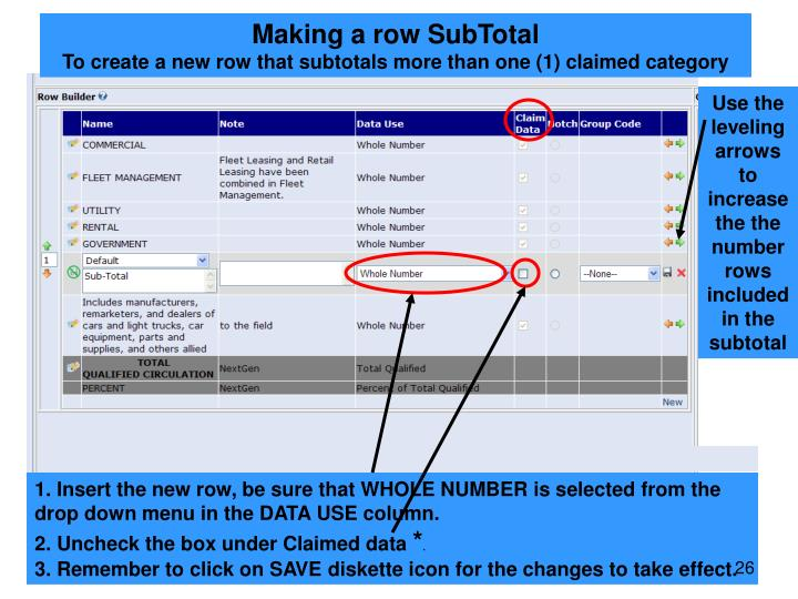 Making a row SubTotal