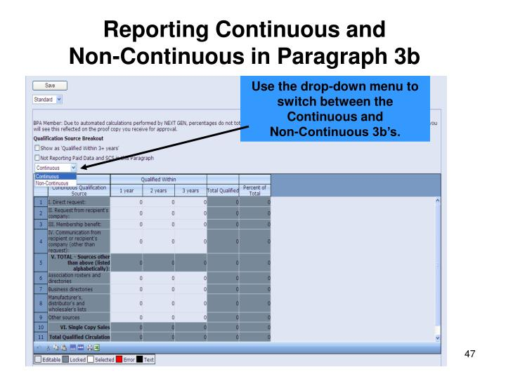 Reporting Continuous and                    Non-Continuous in Paragraph 3b