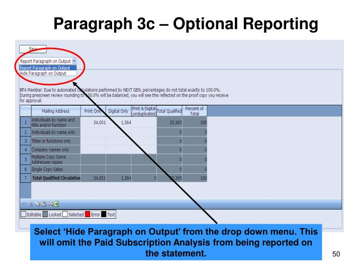 Paragraph 3c – Optional Reporting
