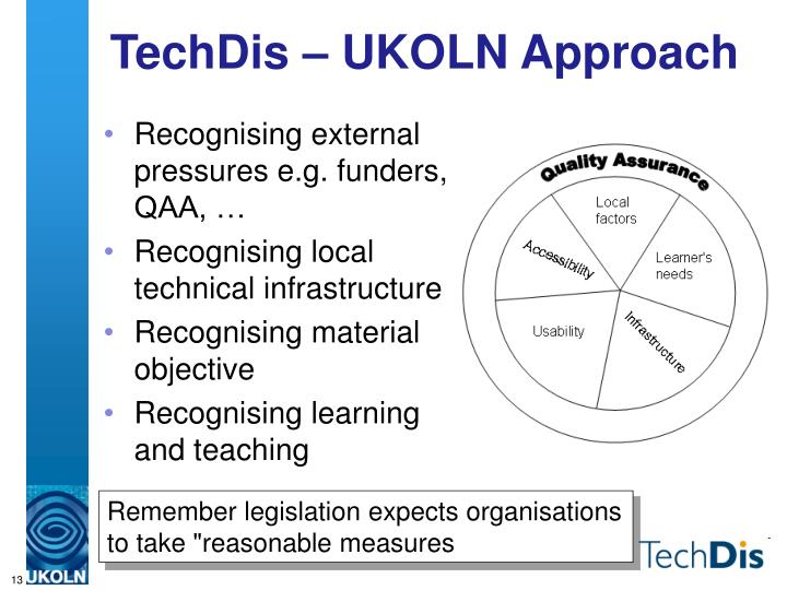 TechDis – UKOLN Approach