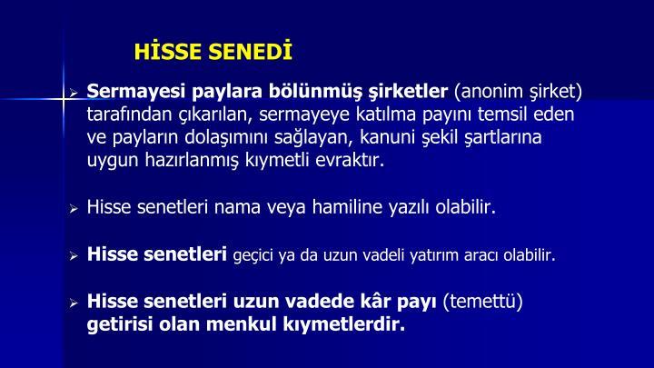 HİSSE SENEDİ