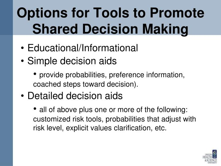Options for Tools to Promote Shared Decision Making