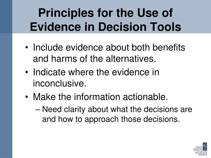Principles for the Use of Evidence in Decision Tools