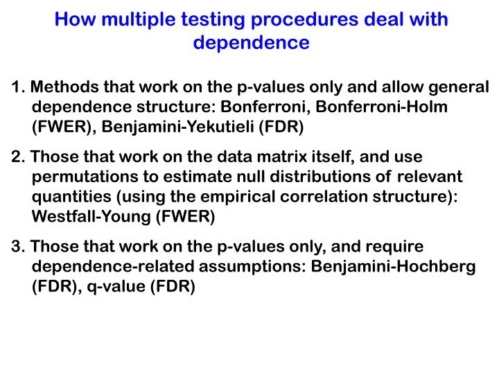 How multiple testing procedures deal with dependence