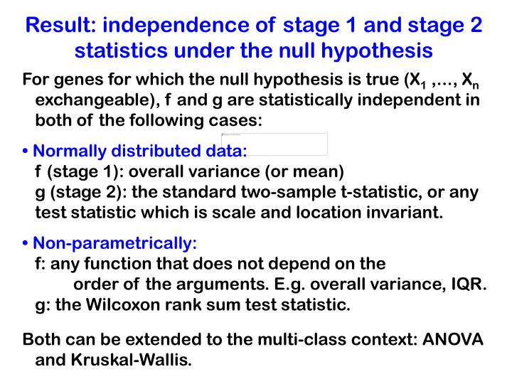 Result: independence of stage 1 and stage 2 statistics under the null hypothesis