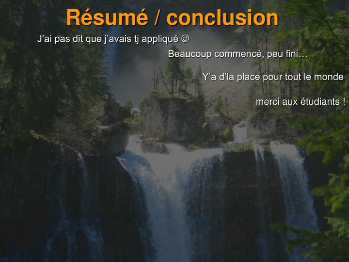 Résumé / conclusion