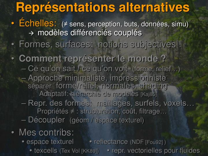 Représentations alternatives