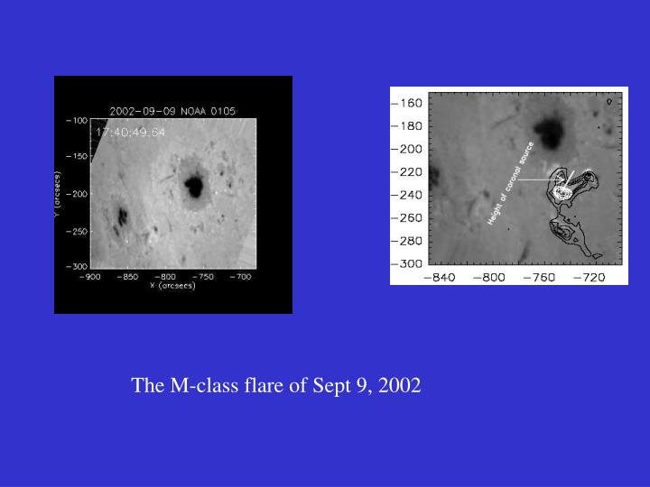 The M-class flare of Sept 9, 2002