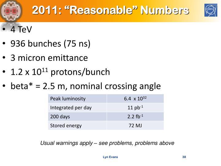 """2011: """"Reasonable"""" Numbers"""
