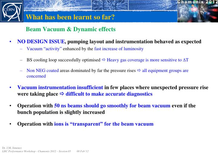 Beam vacuum dynamic effects