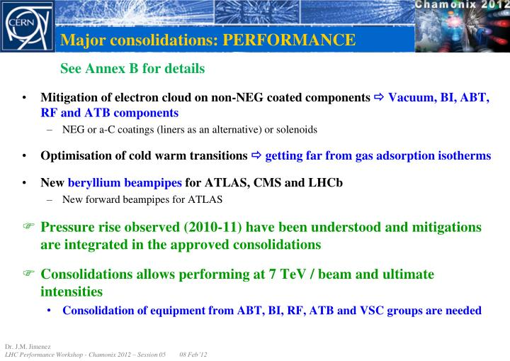 Major consolidations: PERFORMANCE