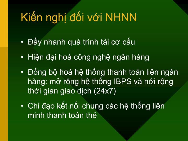 Kiến nghị đối với NHNN