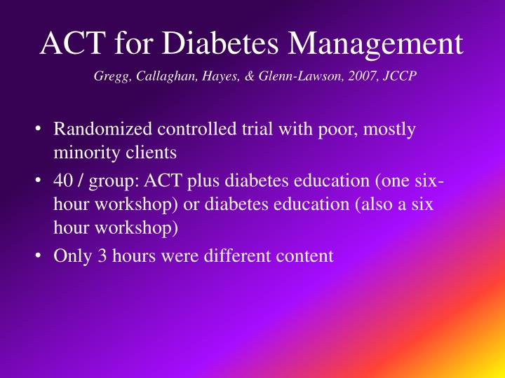 ACT for Diabetes Management