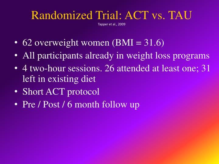 Randomized Trial: ACT vs. TAU