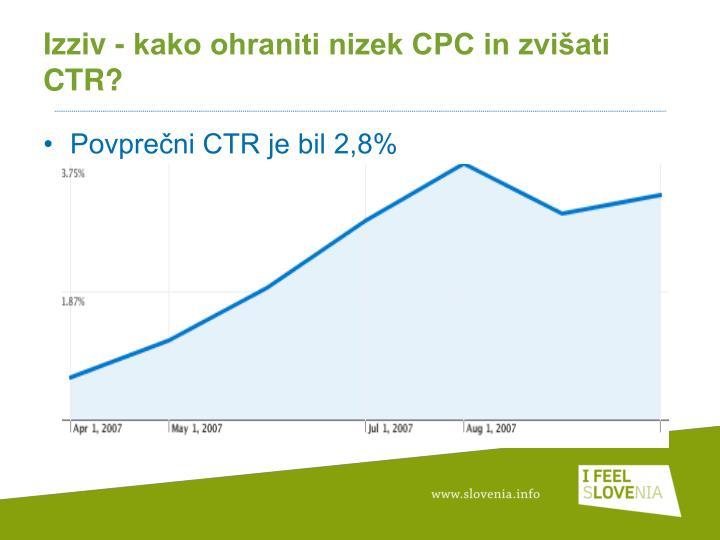 Izziv - kako ohraniti nizek CPC in zvišati CTR?