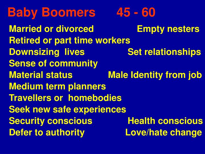 Baby Boomers      45 - 60