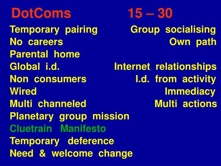DotComs               15 – 30
