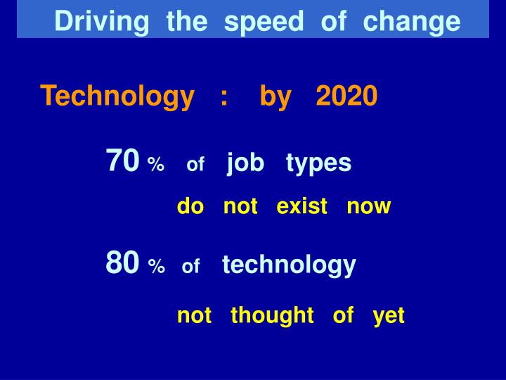 Driving  the  speed  of  change