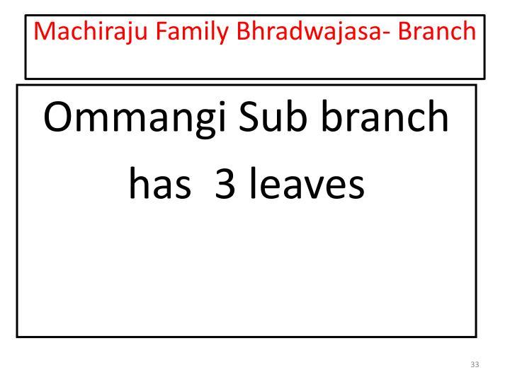 Machiraju Family Bhradwajasa- Branch