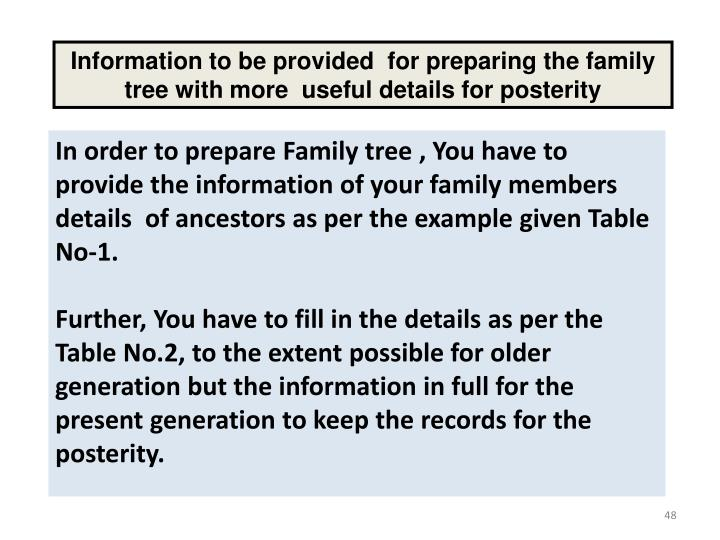 Information to be provided  for preparing the family tree with more  useful details for posterity